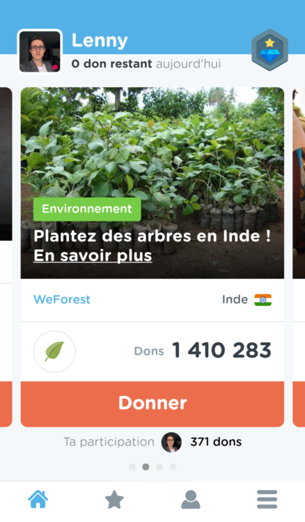Onglet projets de l'application Goodeed